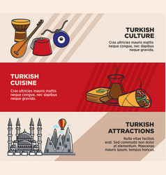 turkey travel tourism famous attractions and vector image