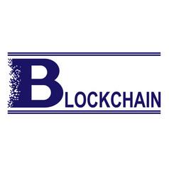 blue blockchain text vector image