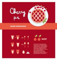 Cherry pie cooking inforgaphics vector