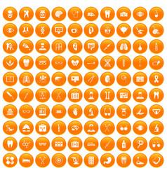 100 medical icons set orange vector