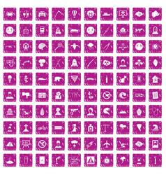 100 phobias icons set grunge pink vector