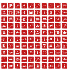 100 tools icons set grunge red vector