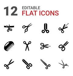 12 scissor icons vector