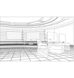 3d outline interior rendering of vector