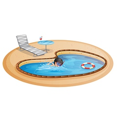 A boy swimming at the pool with a beach chair and vector image