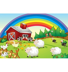A farm with many animals and a rainbow in the sky vector image