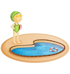 a young girl in pool vector image