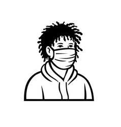 African-american boy wearing face mask front view vector
