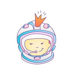 Astronaut cosmonaut princess girl in space cosmos vector