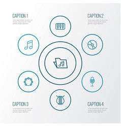 Audio outline icons set collection of amplifier vector