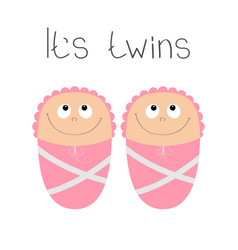 Baby shower card its twins girl cute cartoon vector
