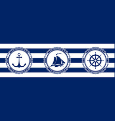banner with sea emblems on seamless background vector image