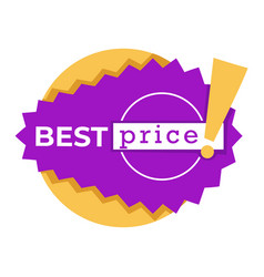 best price sticker or discount tag in purple and vector image
