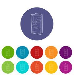 bookcase icons set color vector image