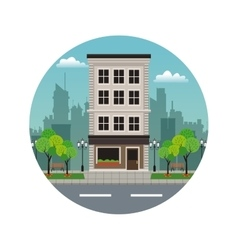 Building residential aparments street stamp vector