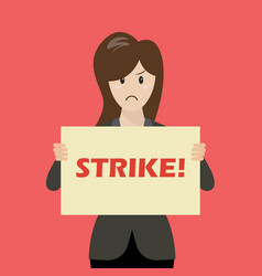 business woman showing strike banner vector image vector image