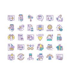 buying medicine online rgb color icons set vector image