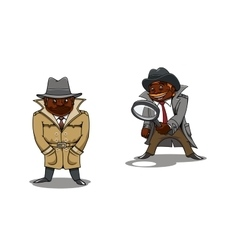 Cartoon detective and spy with magnifier vector image
