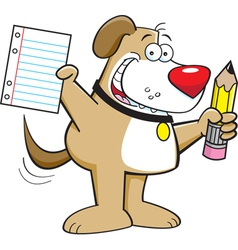 Cartoon Dog Holding a Pencil vector