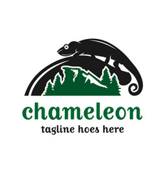 chameleon animal logo design vector image