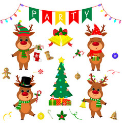 christmas and new year party 2020 set four vector image