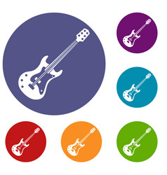 classical electric guitar icons set vector image