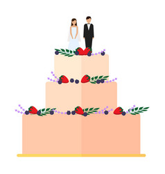 Cute wedding cakes with floral decoration vector