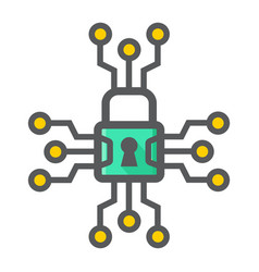 cyber security colorful line icon padlock vector image
