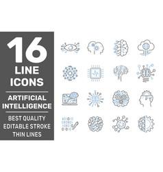 Digital technology icons set ai iot smart brain vector