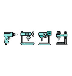 Drilling machine icons set outline style vector