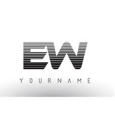 Ew e w black and white horizontal stripes letter vector
