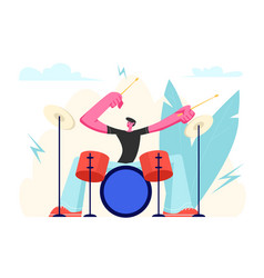 Excited drummer playing hard rock music vector