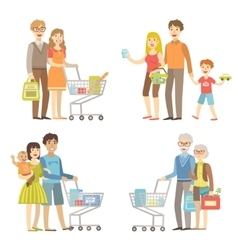 Families Grocery Shopping Together vector