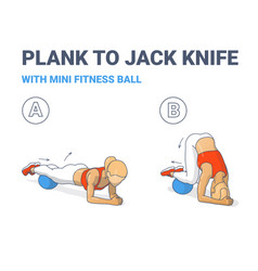 Female doing plank to twist jack knife with mini vector