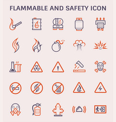 Flammable safety icon vector