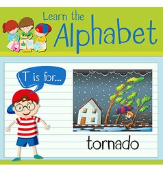 Flashcard letter T is for tornado vector image vector image