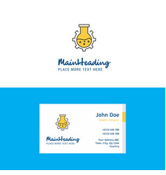 flat flask logo and visiting card template vector image