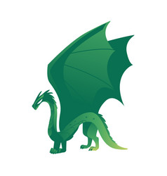 flat green colored dragon with wings horns vector image