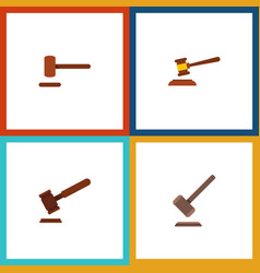 Flat icon hammer set of justice tribunal defense vector