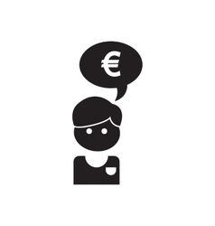 Flat icon in black and white Worker thought vector image