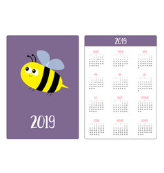flying bee insect simple pocket calendar layout vector image
