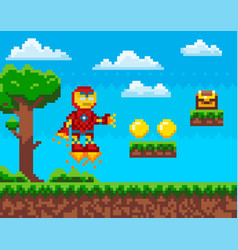 Flying iron man robot in red metal suit collects vector