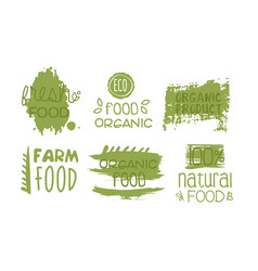 fresh organic natural food green labels set eco vector image