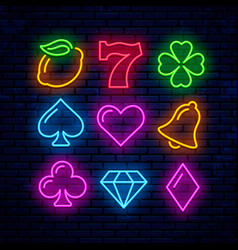 gaming neon icons for casino vector image