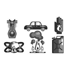 gasoline processing black symbols set oil vector image