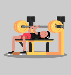 Girl makes the bench press vector