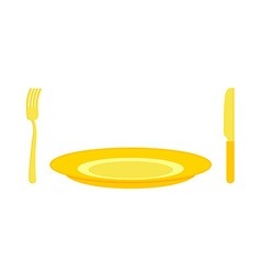 Gold cutlery knife and fork for rich Expensive vector