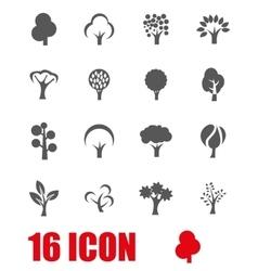 grey trees icon set vector image