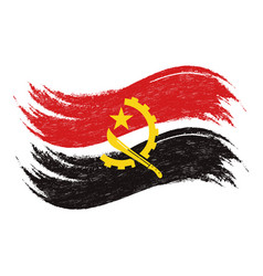 Grunge brush stroke with national flag of angola vector