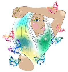 Hand drawn beautiful woman with butterfly vector